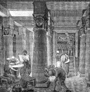 """""""When we sat by the meat pots and ate bread to the full"""" (Exodus 16, 3): Academia.edu claims to be a modern version of the Library of Alexandria – knowledge accessible to all. The parallel may also lie in both institutions' mysterious Terms of Use. Source:  Wikimedia commons  , public domain."""