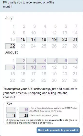 Choose a monthly date for delivery before the 15th.