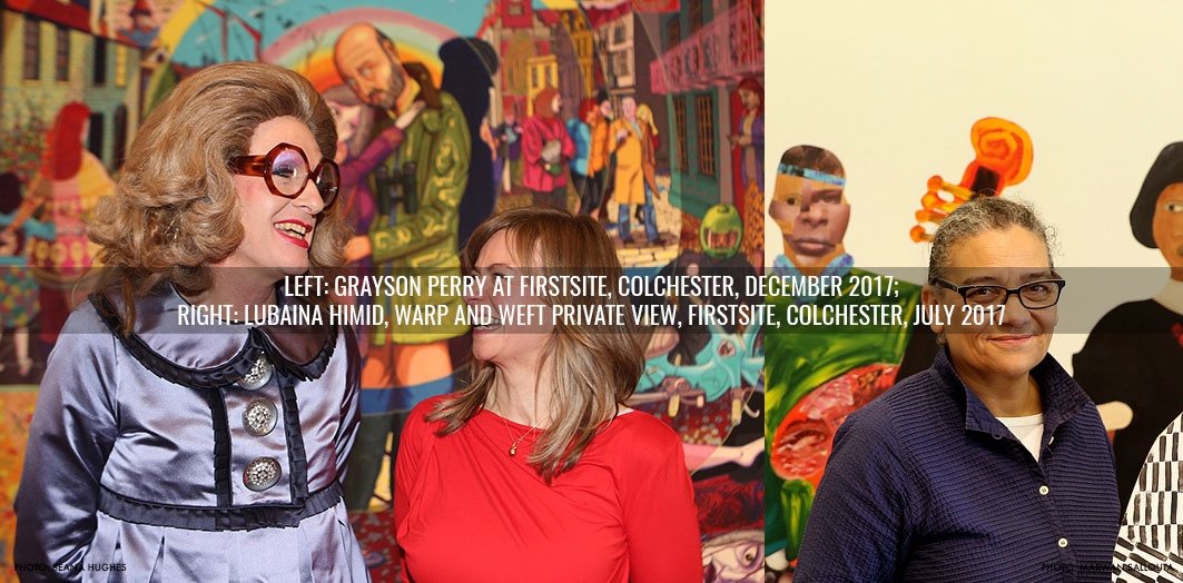 Grayson Perry attending Firstsite gallery opening and Lubaina Himid at Firstsite Gallery