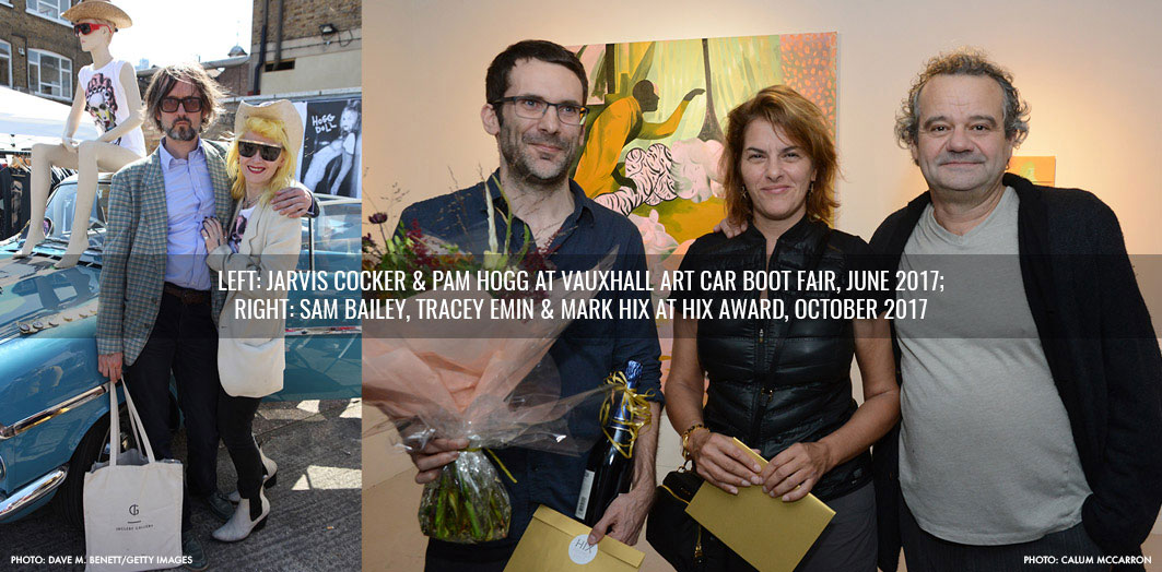 Jarvis Cocker and Pam Hogg at Art Car Boot Fair and Sam Bailey, Tracey Emin and Mark Hix at HIX Art Award Night