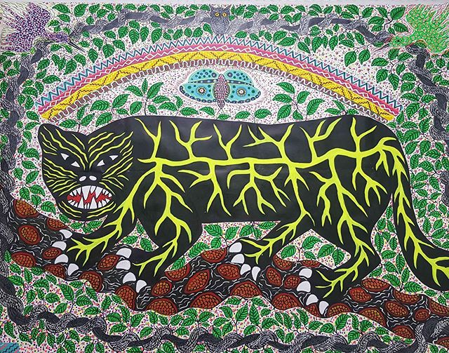 As the launch event for the Flourishing Diversity Series, tonight, Thursday 30 May (6.30-9.30) sees the opening of The Invisible Forest, an exhibition of paintings by renowned Indigenous Peruvian-Amazonian artists realised by London-based author and curator Patsy Craig at @gallery46whitechapel.  The Invisible Forest is a tribute to the complexity of the Amazon - a vast, rugged, beautifully diverse expanse integral to the Earth System's ecological well-being that has been continuously invaded by numerous resource exploitation interests. Within this setting, the region's original custodians are under threat despite significant studies demonstrating a strong correlation between the last remaining, relatively intact forests and the presence of Indigenous peoples. Whilst informed assessments of the current global climate crisis affirm that Indigenous environmental stewardship perpetuates biodiversity and ensures inter species flourishing, it remains a struggle for Indigenous peoples to uphold their rights, maintain their cultural traditions, and preserve their ancestral knowledge and lands. The Invisible Forest provides a platform for these Native Amazonian artists to make visible their culture's enlightened world views and gives London audiences unprecedented access to their invaluable insights (until 29 June). Image: El Puma y el Arco Irís (detail) by Roldan Pinedo @xoyan_sheka  #puma #theinvisibleforest #forest #amazon #amazonforest #amazonianartist #amazonian #artist #groupshow #contemporaryart #southamerica #southamericanart #roldanpinedo #patsycraig  #gallery46 #whitechapel #london #londonart