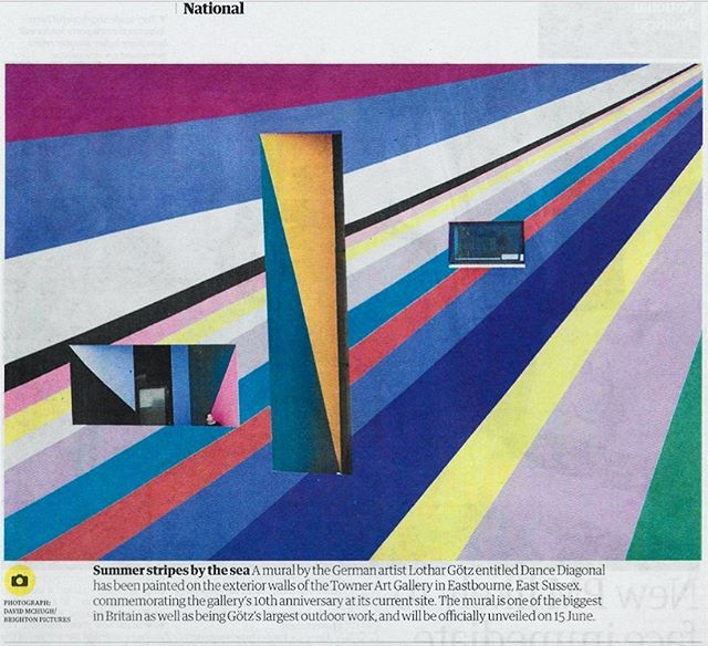Nice big image of part of @lothargoetz's new commission for @townergallery in @guardian today! The official launch of Lothar's Brewers Towner Commission: Dance Diagonal is 15th June! 🌈 . @brewerspaints @thelondonmuralcompany #lothargoetz #brewerstownercommission #townergallery #painting #commission #mural #mustsee #contemporaryart @sussexmodern #eastbourne #eastsussex  #southcoast