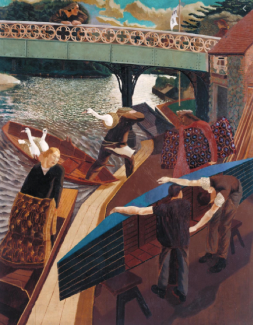 Swan Upping at Cookham , (1915 -1919), Oil paint on canvas, 148 x 116 cm