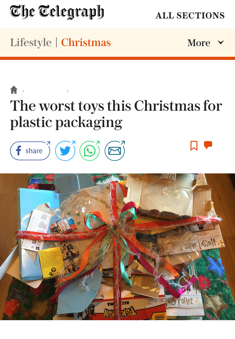 Telegraph: plastic packaging