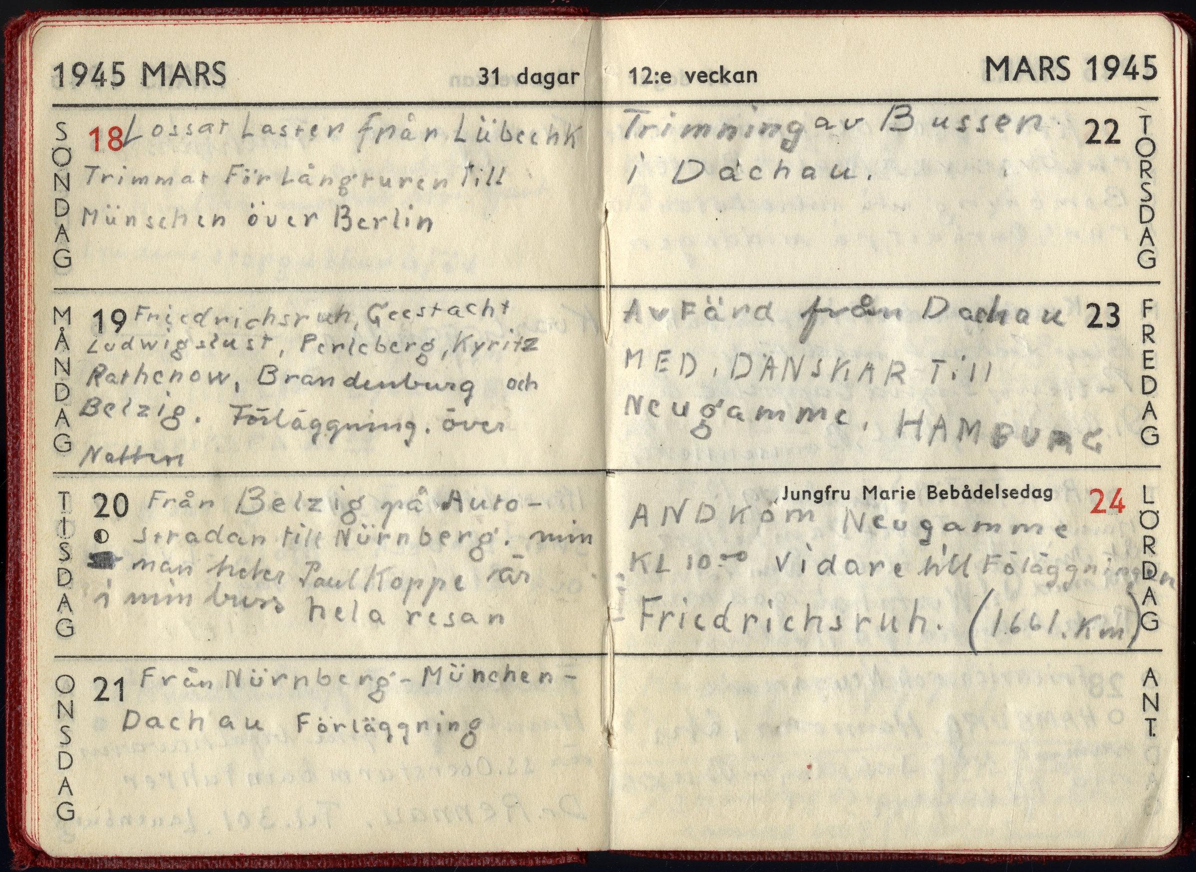Uppslag ur almanackan tillhörande Bertil Fröderberg, en av vita buss-chaufförerna, mars 1945