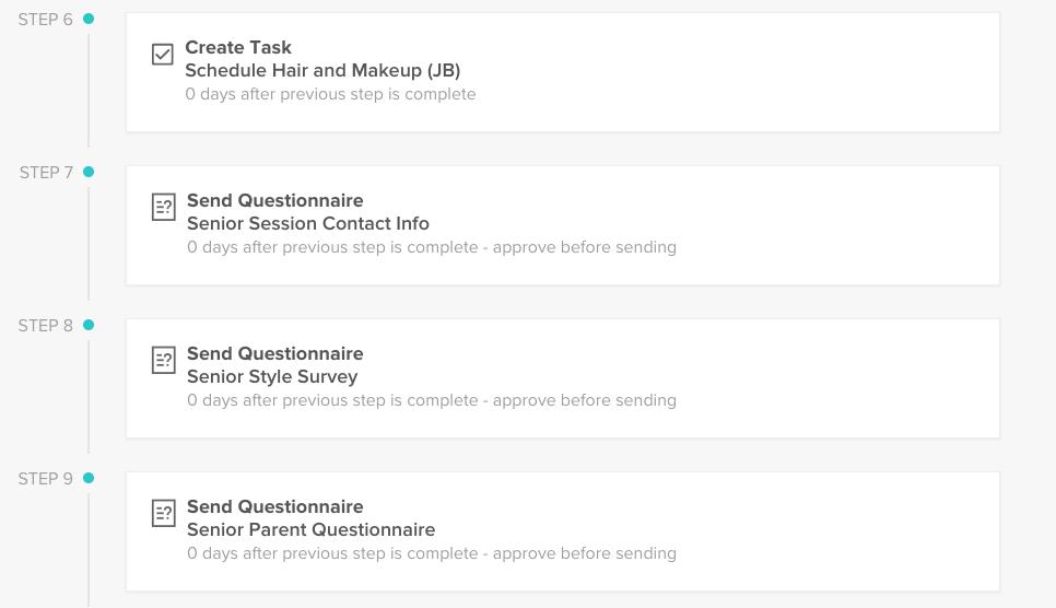 senior session workflow in honeybook client management