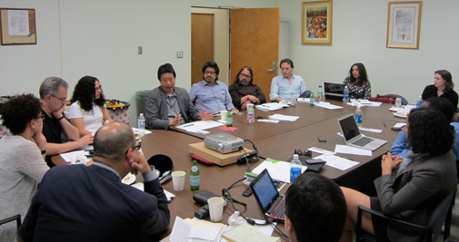Meeting of the L.A. URBAN core group at the UCLA César E. Chávez Department for Chicana/o Studies. Photo by Patricia Molina Costa.