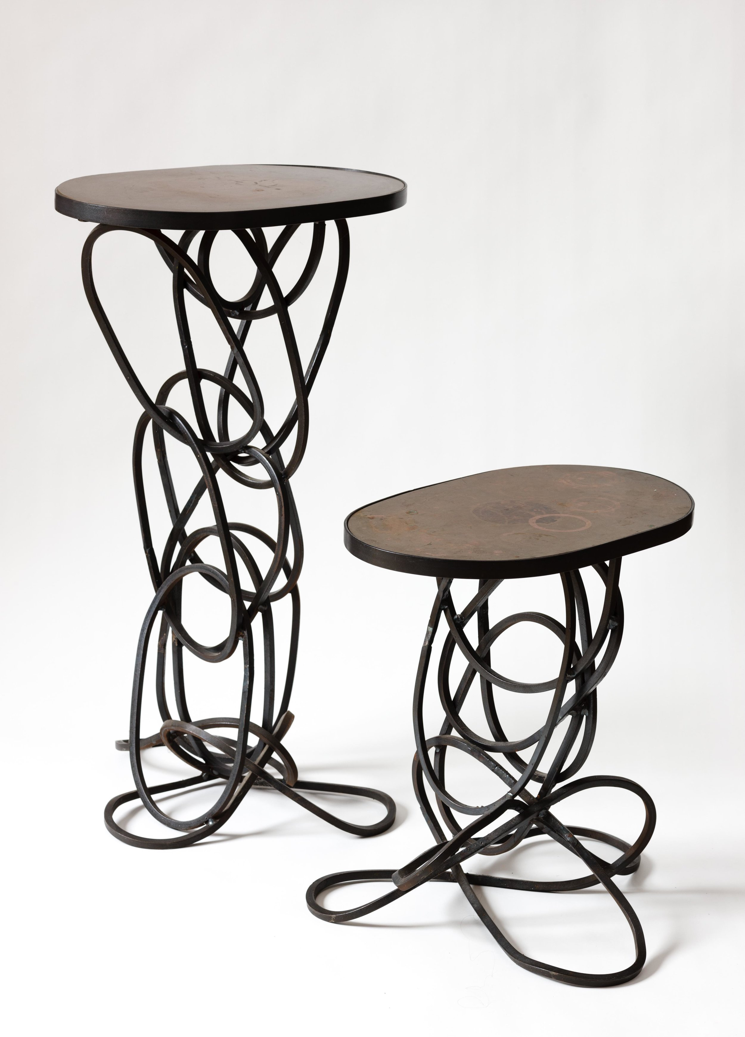 Loop Table with bronze patina top