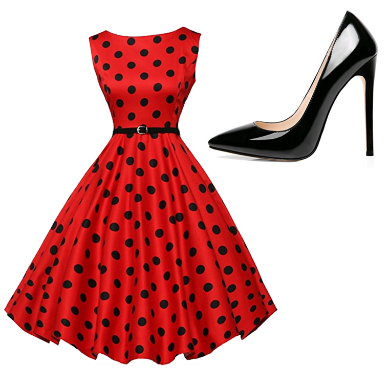 Go glam for your engagement photo shoot with a retro polka dot dress and a classic heel.