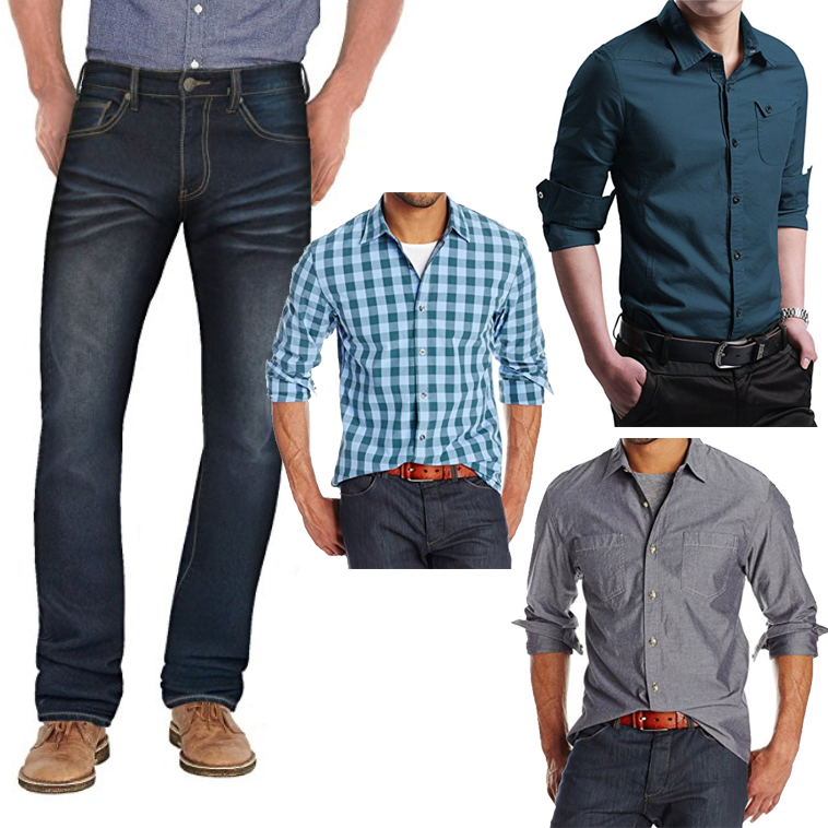 Dark wash jeans are ideal for men to wear during engagement photo shoots. Pair them with a button down or polo for a polished look.