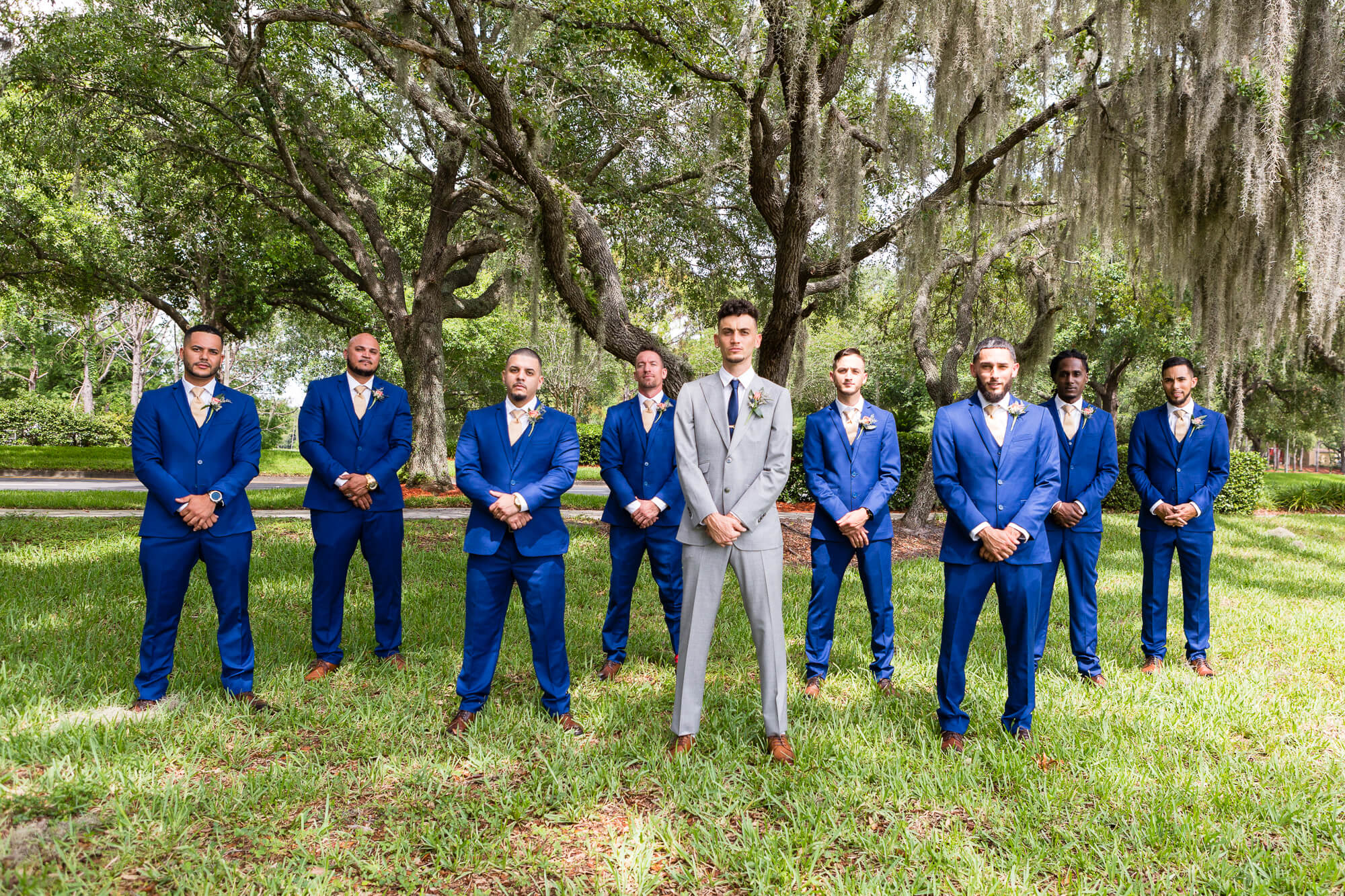 The royal blue and gold wedding of Jessica and Bruce at Noah's Event Venue in Lake Mary, Florida