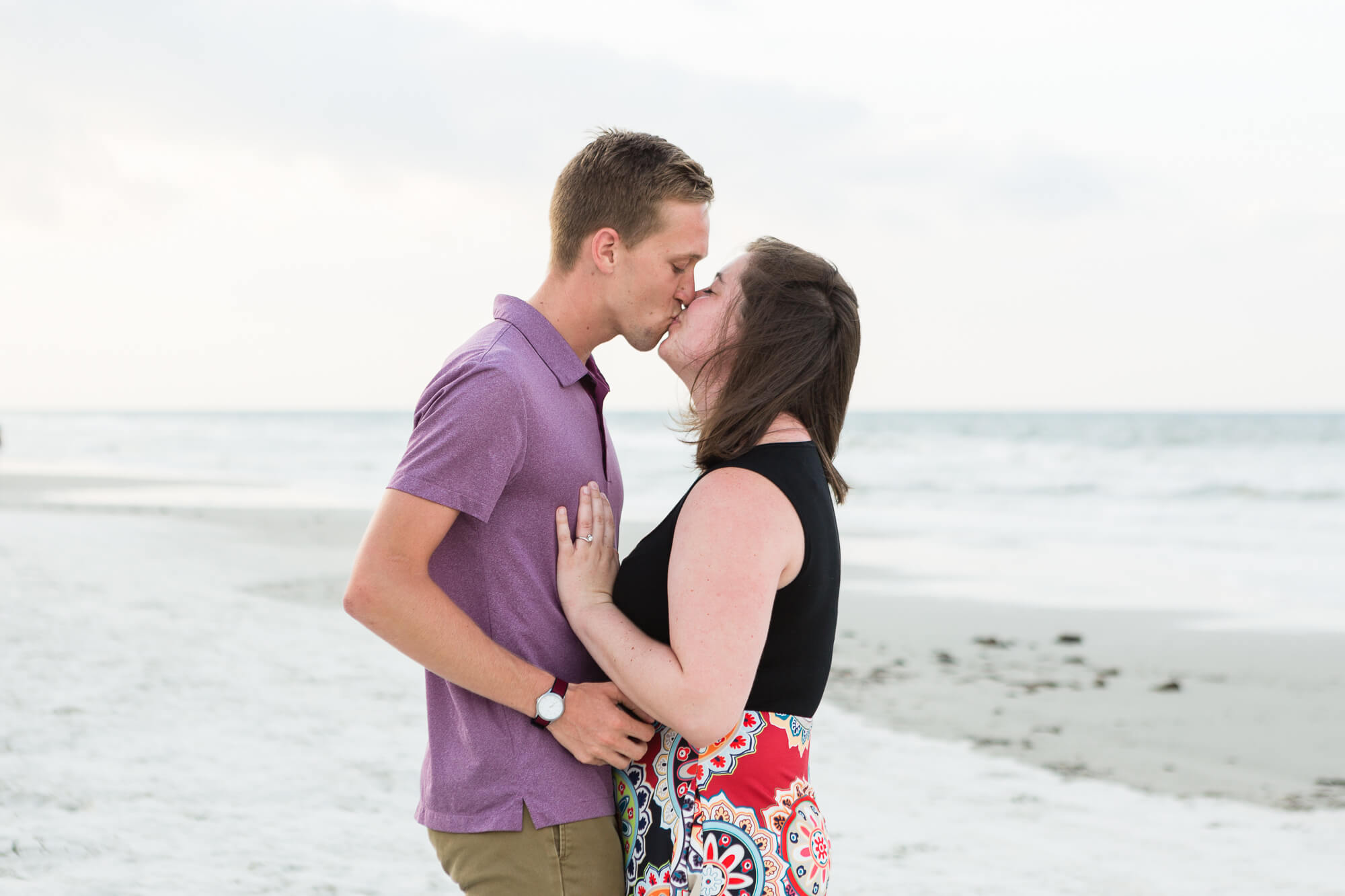 Joe proposing to Emily on Florida's New Smyrna Beach