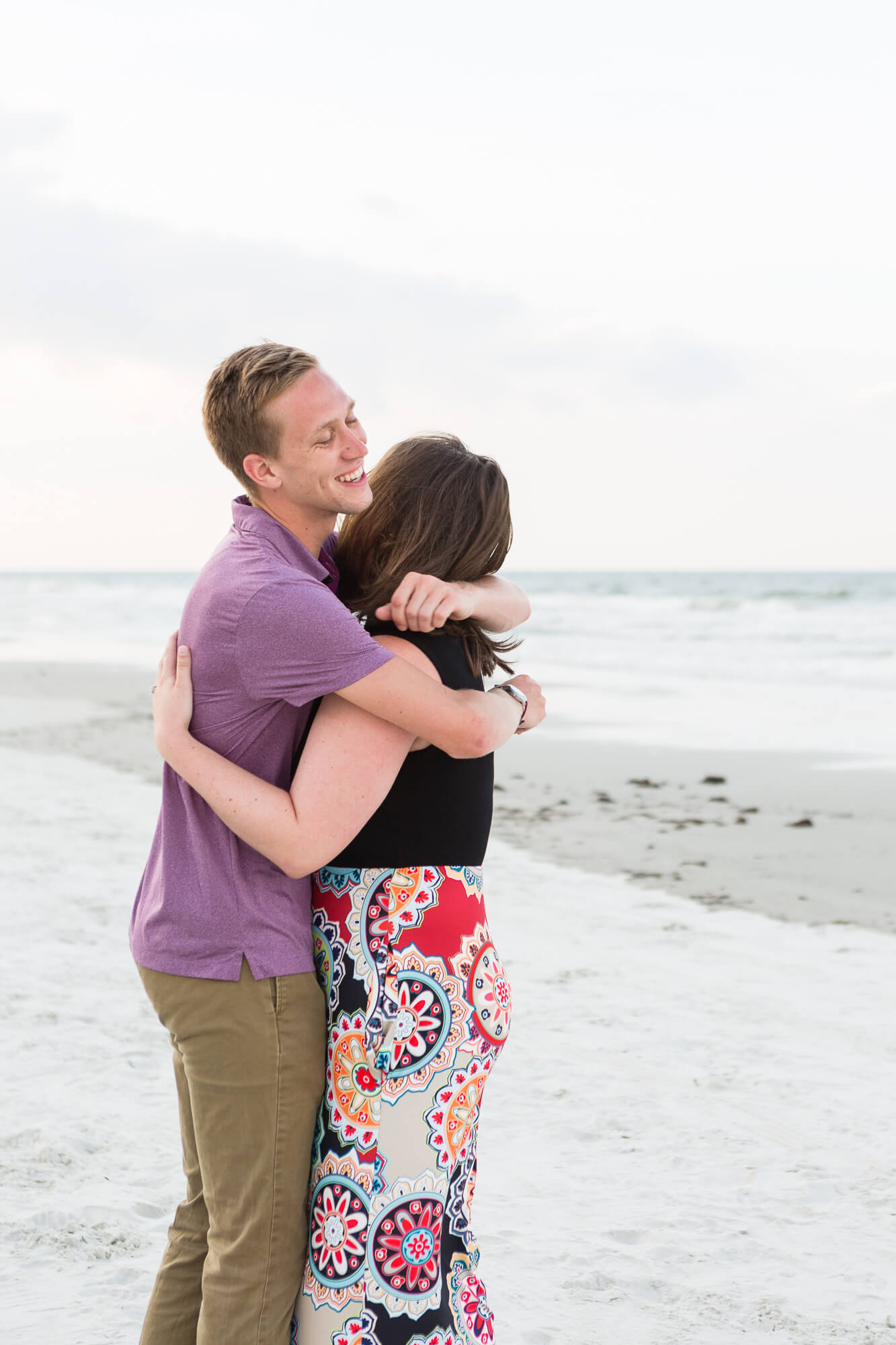 Joe proposing to Emily on Florida's New Smyrna Beach