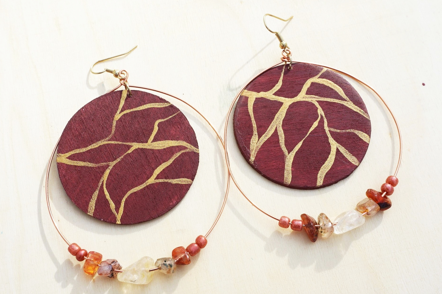 Cranberry Agate Wood and Wire Earrings By Avilda