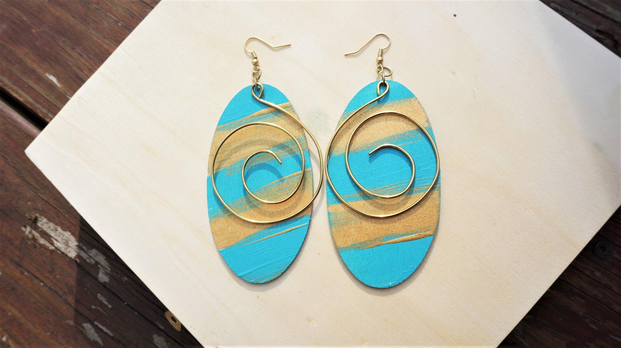 Caribbean Breeze Wood & Wire Earrings By Avilda