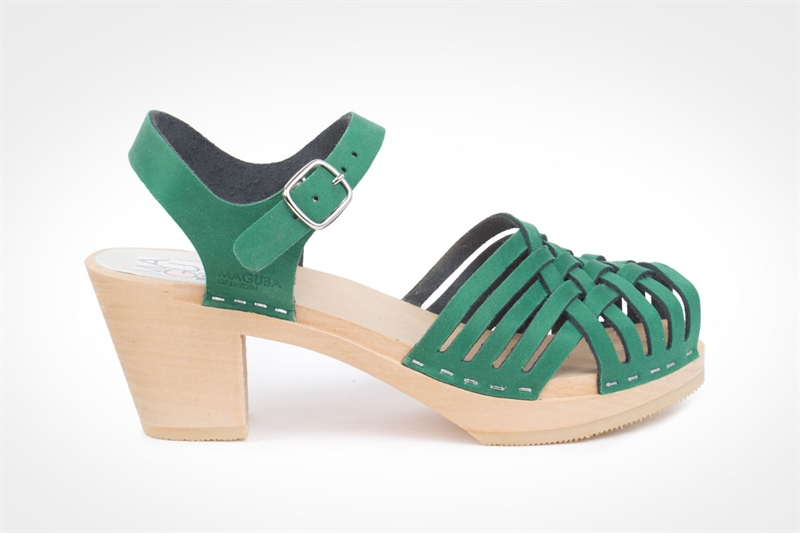 Maguba | Barcelona Clog Sandal in Green Suede