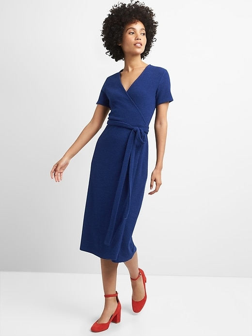 Gap | Softspun Midi Wrap Dress in Ribbed