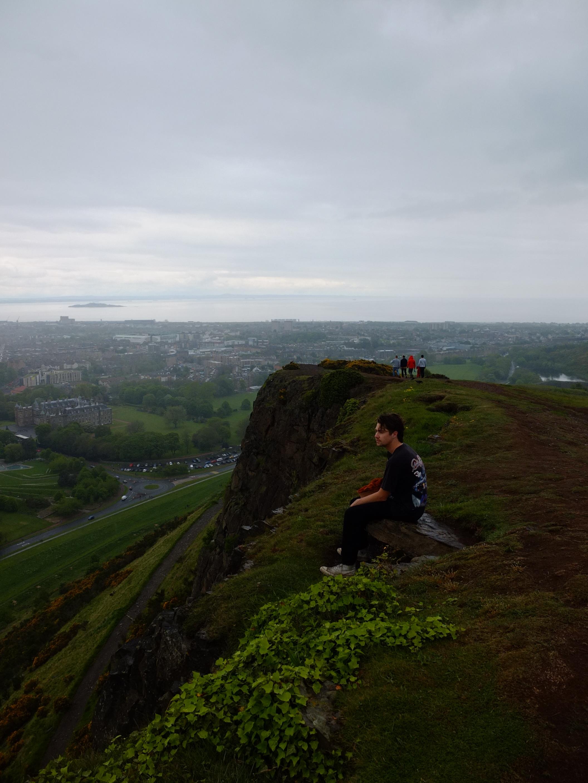 Don sitting in Edinburgh, Scotland. Photo by Shaun Couture