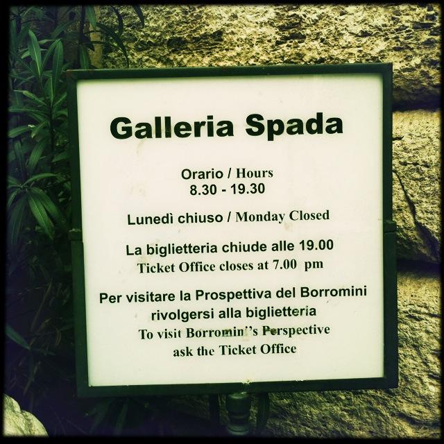 Artemisia Gentileschi's only painting in ROMA is in the:  SPADA GALLERY in ROME Galleria Spada  Piazza Capodiferro, 13  Wednesday – Monday 8.30am – 7.30pm  Entry fee: €5    galleriaspada.beniculturali.it