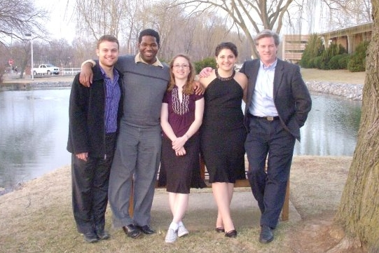 James with students at Virginia Commonwealth University.