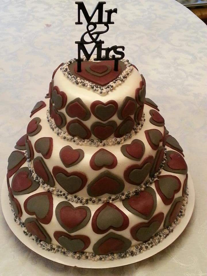 Tiered Heart Wedding Cake - by Carolyn Rodriguez