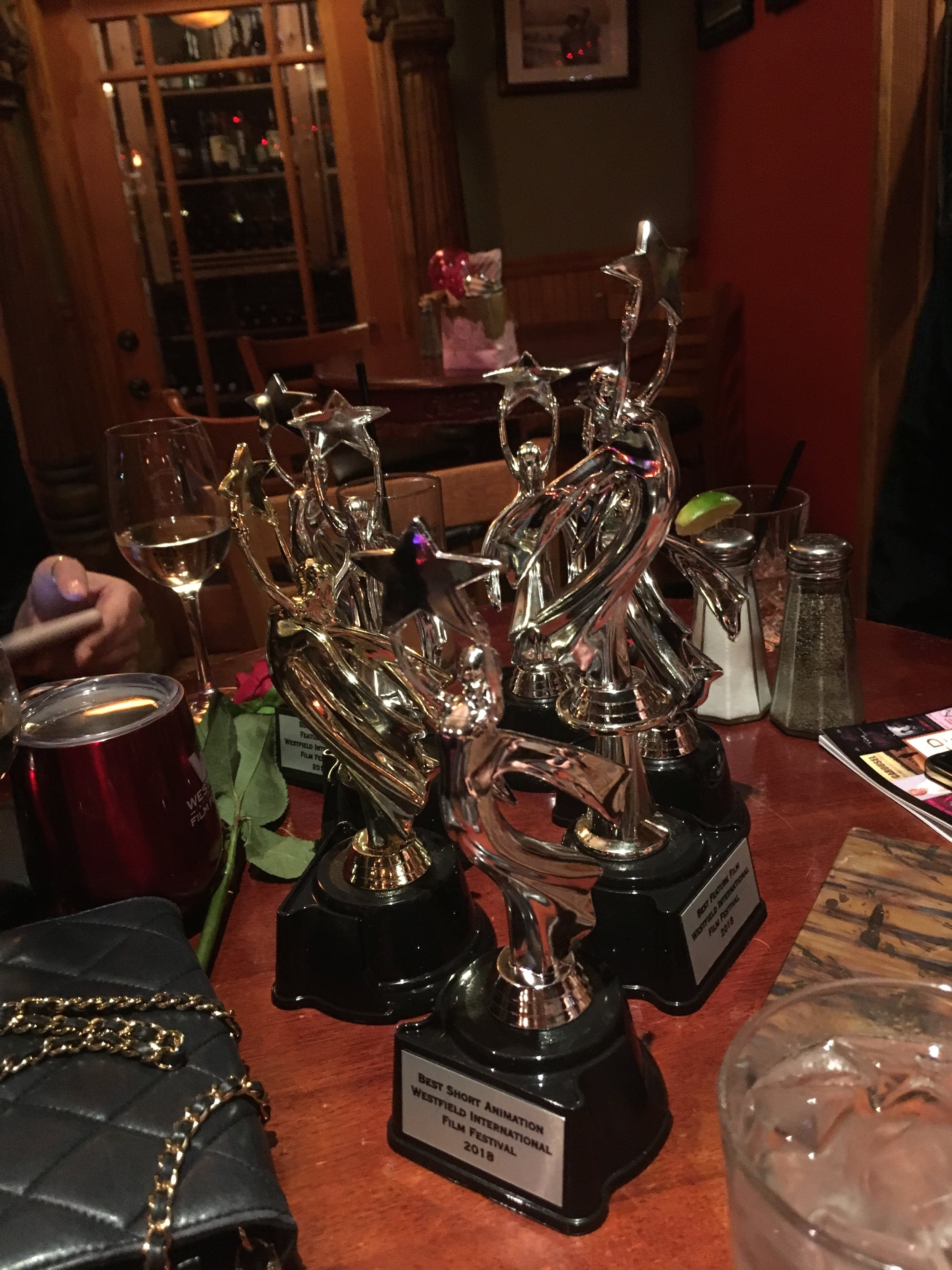 Nataliya Padilla & Ksenia Valenti invited me to add my statuette to the collection they had received for their feature film,  This Much .