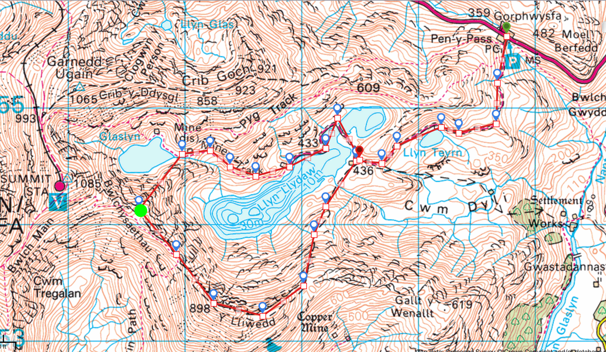 The route - the green dot is where we camped.