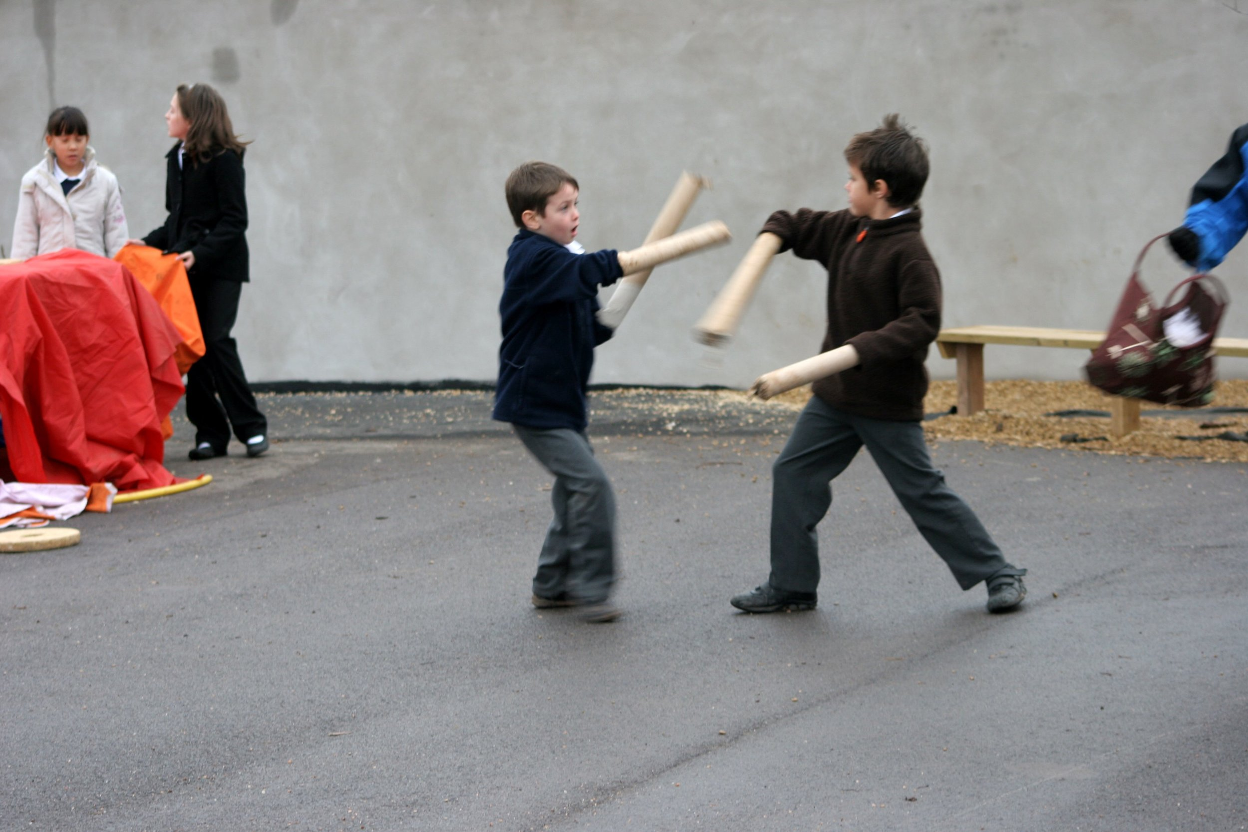 Useful tools to engage in playful combat, developing skills in gross and fine motor skills, practicing emotional regulation and 'Playing out' situations in a safe and emotionally secure environment. Children also learning about boundaries through taking risks in their play.