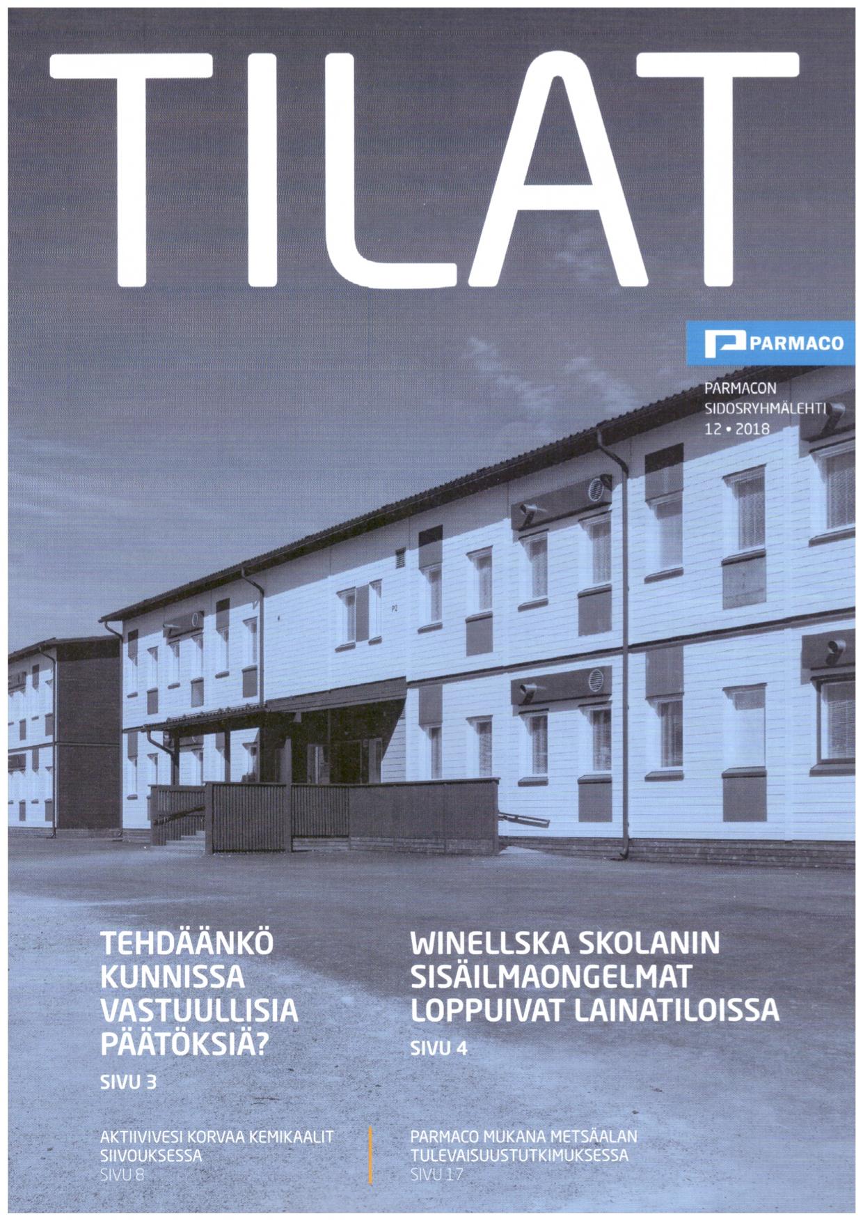Artikkeli Aktiivivesisiivouksen tuloksista Kirkkonummella Parmacon TILAT-sidosryhmälehdessä.