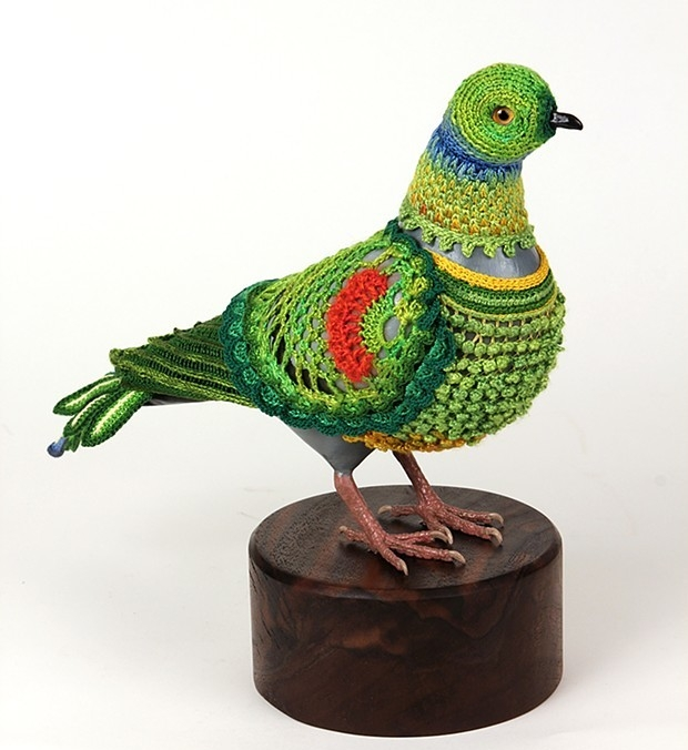 Biodiversity Suits - Multi-media artist Laurel Roth Hope is a former park ranger with a background in natural resource conservation, and she has used a variety of fiber crafts--crochet, weaving, and embroidery--in her work.The piece pictured here, the Seychelles Parakeet, is from Biodiversity Suits, which is a collection that superimposes the appearance of extinct bird species on the ubiquitous urban pigeon. Laurel explains her artistic objectives in this interview and you can view more from her body of work, including ALL the biodiversity suits at her website.