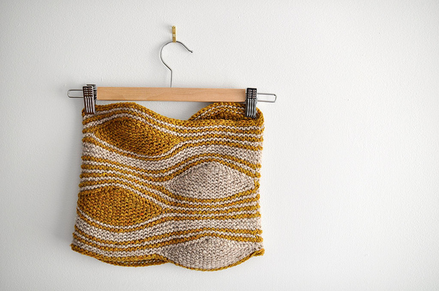 CURRENT CLASSES & EVENTS - Double Knit Cowl [Last Call]September 15, 10:00am-2:00pm | $40 + materials | Sandy BuzzelliWhile there are many ways to add colors and motifs to your knitting — intarsia, color stranding, and mosaic knitting, to name a few — double-knitting might just be the most intriguing of all!Double-knitting creates a two-color, double-layer fabric that is knit all at one time and is also completely reversible. In this class, we'll learn to double-knit with the Bipolar Cowl.(View pattern here.)Tunisian Crochet Cowl [FULL]September 29, 10:00am-2:00pm | $40 + materials | Sandy BuzzelliWorked in the round using a double-ended crochet hook, the Strata Cowl is the perfect project for learning the basic Tunisian crochet stitches. Using two colors, this beautifully textured cowl is also reversible!Prerequisite: you should be generally comfortable with regular crochet and know how to chainand single crochet.Turbulence (Short Row) Cowl [pictured, (c) Laura Chau]October 6, 10:00am-2:00pm | $40 + materials | Sandy BuzzelliCombining short rows and two colors, the Turbulence Cowl creates playful waves, wedges andstripes that dance along the surface of the cowl. While the pattern uses Wrap & Turn short rows, we'll learn how to substitute German short rows to create this fun-to-knit cowl.Prerequisites: You should know how to cast on, knit, purl, and bind off.(View pattern here.)Thrummed MittensOctober 13 & 27, 10:00am-12:30pm | $40 + materials | Sandy BuzzelliThrumming is a technique that involves knitting bits of unspun wool into stitches to create ultra-warm, ultra-cozy, insulated knitwear. In this class, we'll learn how to make thrums and how to knit them into stitches, how to knit a pair of mittens, and we'll explore several different methods for knitting thumbs.Prerequisite: you should know how to cast on, knit, purl, bind off and how to knit small tubes on double-pointed needles, two circulars, or magic loop.(View pattern here.)Garter Geometry HatOctober 13 & 