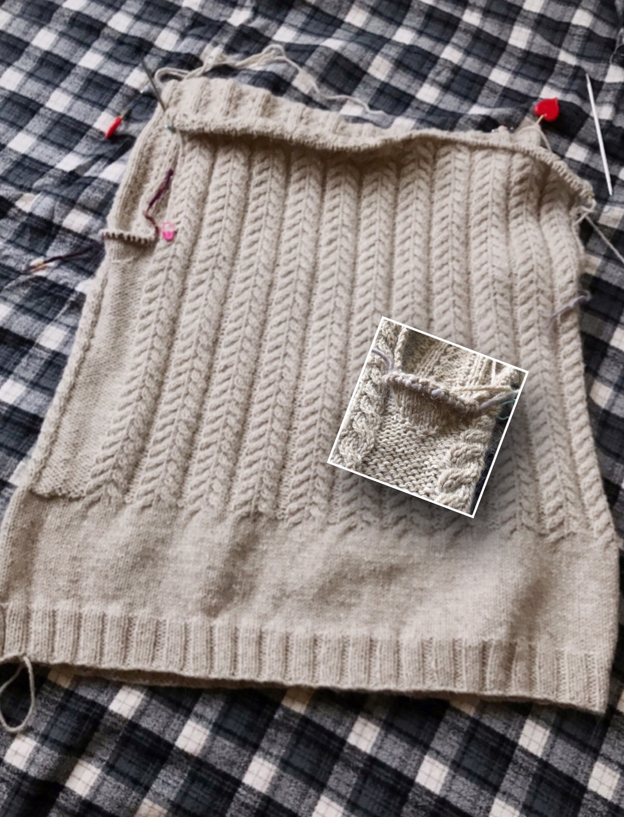 January Gansey - While I've knit both the front and back of the January Gansey to the point where they are joined via Russian grafting, I haven't had a moment to sit down, concentrate, and try this technique. I can do kitchener stitch in my sleep, but Russian grafting is new to me!