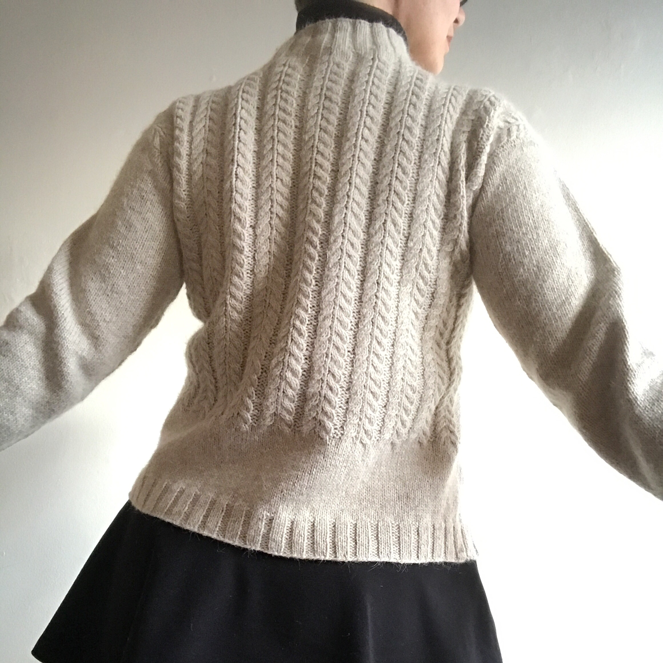 """January Gansey - January Gansey is done! Kenzie knit at 25 st over 4"""" makes an incredibly substantial fabric. And I might want underarm gussets in all of my sweaters now! I won't go to the trouble, but it's wonderful to have the added ease of movement without much extra bulk."""