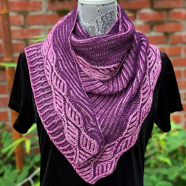Dark purple and lavender brioche shawl ©and knit by PDX Knitterati/Michele Bernstein