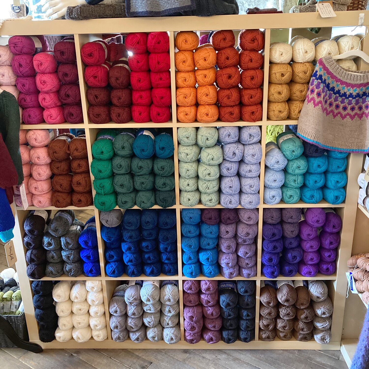 Shelves fully stocked with Berroco Ultra Wool