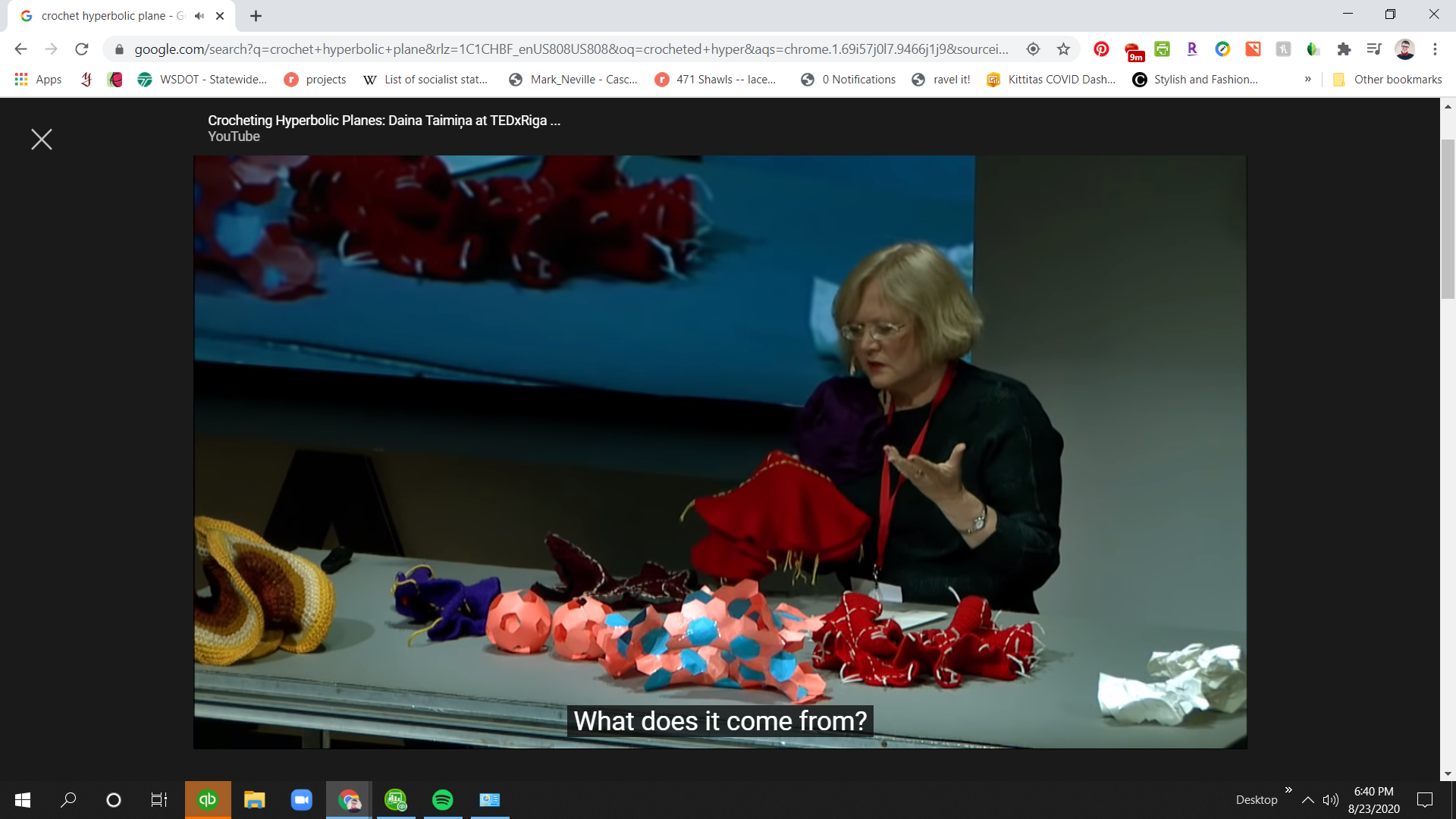 Screen shot of Daina Taimina delivering a talk about crocheted hyperbolic planes