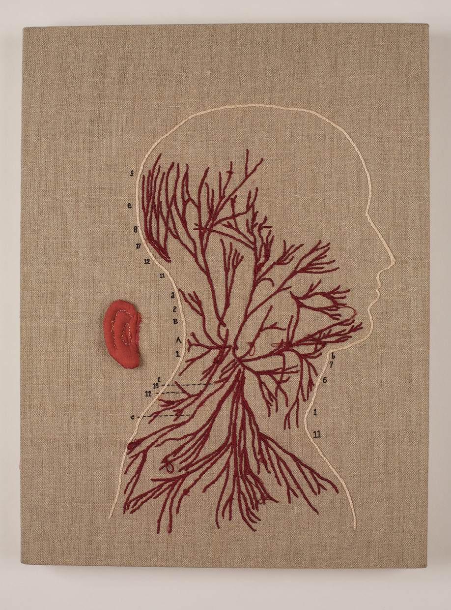 """Megan Canning,  All my body calls , 2008. Hand-embroidered cotton on linen. 16"""" h x 12"""" w x 3"""" d."""
