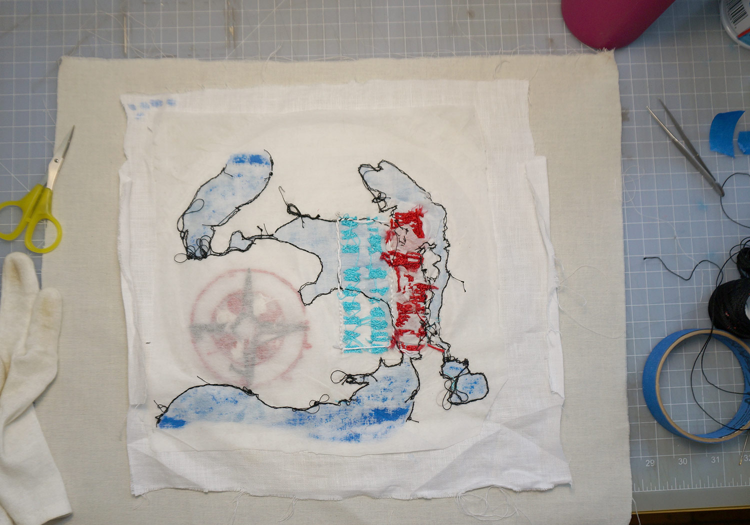 The back of the embroidery