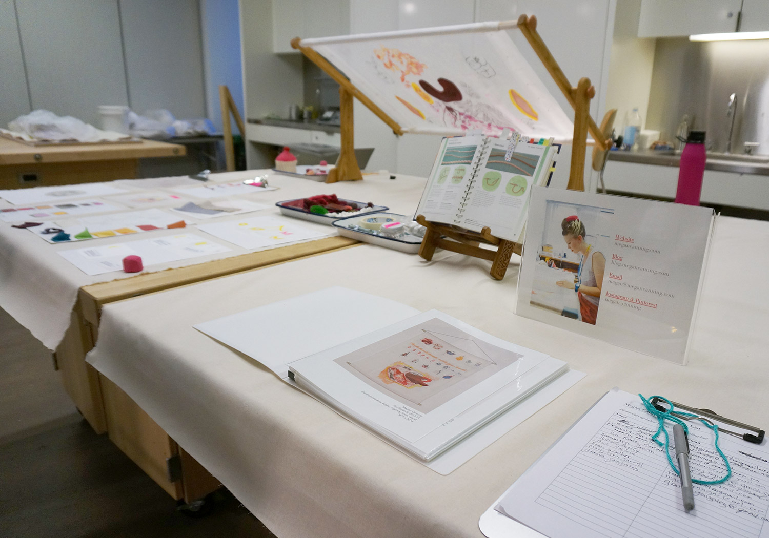 A typical visitor's view of the studio table