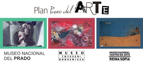 Ticket 'Paseo del Arte', Madrid - The 'PASEO DEL ARTE' ticket allows you to visit the famous 'Triangle of Art' of Madrid, formed by the 3 most important museums of the city which are very close and located on the Paseo del Prado in the city center. The ticket (valid for 1 year) allows access to the permanent collection of the Thyssen Museum (not temporary exhibitions); access to the permanent collection as well as some temporary exhibitions of the Prado Museum; access to the permanent collection and some permanent exhibitions of the Reina Sofia Museum. Price per person: 35 €. (Anglais à vérifier)