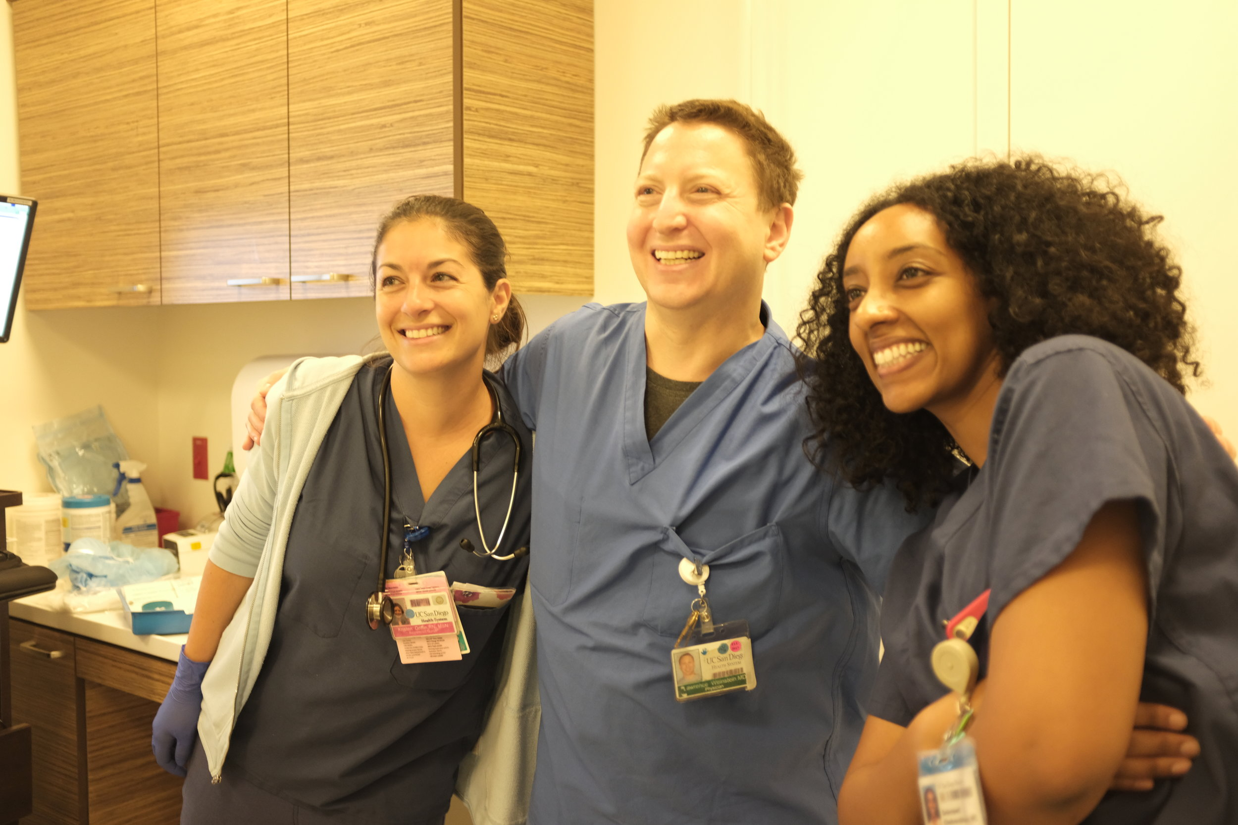 our amazing team - my nurse, anesthesiologist, and OB-GYN (my surgeon was already in the operating room)