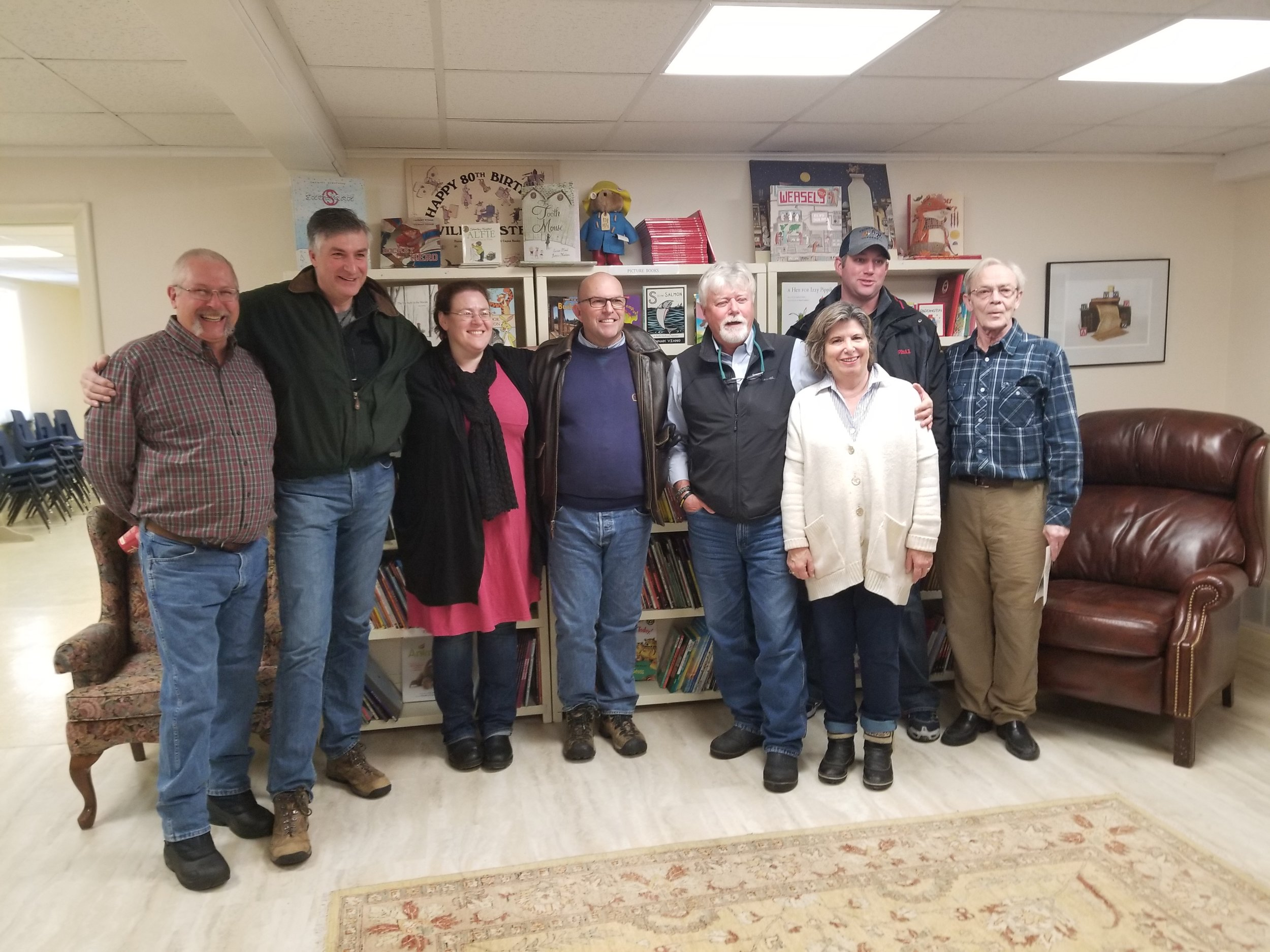 This photo, taken at the open house, includes (left to right) Municipal Councillors Phil St. Jean, Ernie Margetson, Kate MacNaughton, Mayor Steve Ferguson, Councillors Bill Roberts, Phil Prinzen, CKR Chair Anne Preston (in front) and Councillor Bill McMahon.