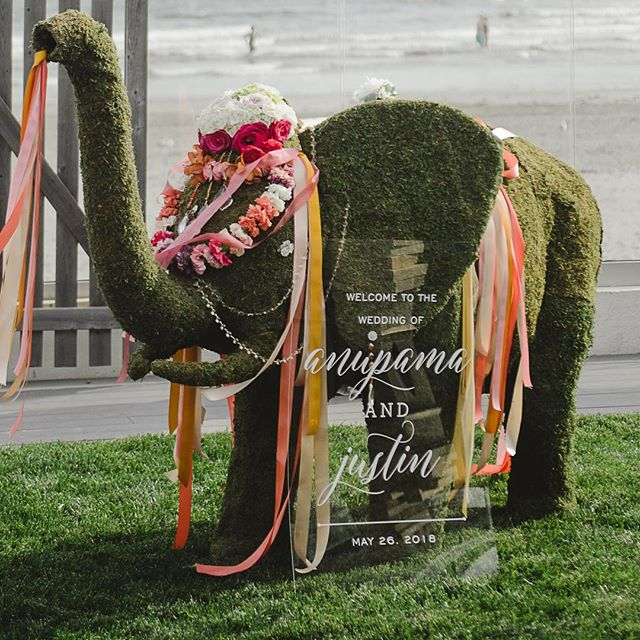Another acrylic beauty! Love the colorful floral elephant for the Indian Ceremony of Anu and Justin! . . Wedding Planner: @infiniteevents_ Photo: @katieslaterphotography, Venue: Newport Beach House @longwoodvenues, Florals: @stoneblossom
