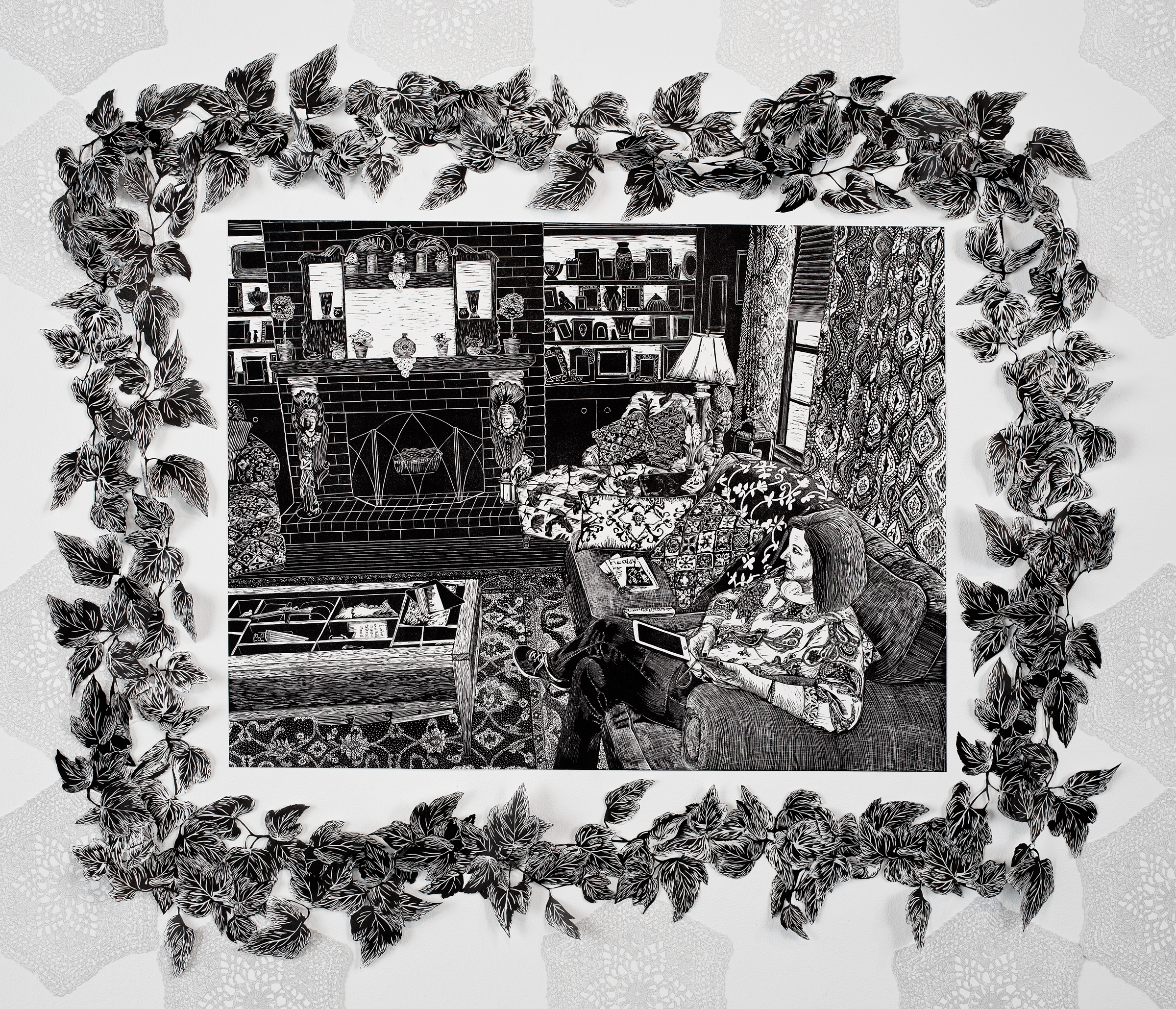 """""""Sentimental Surroundings of Mom"""", linoleum relief, 24x32. Vines surrounding are linoleum relief print and cut out with Xacto."""