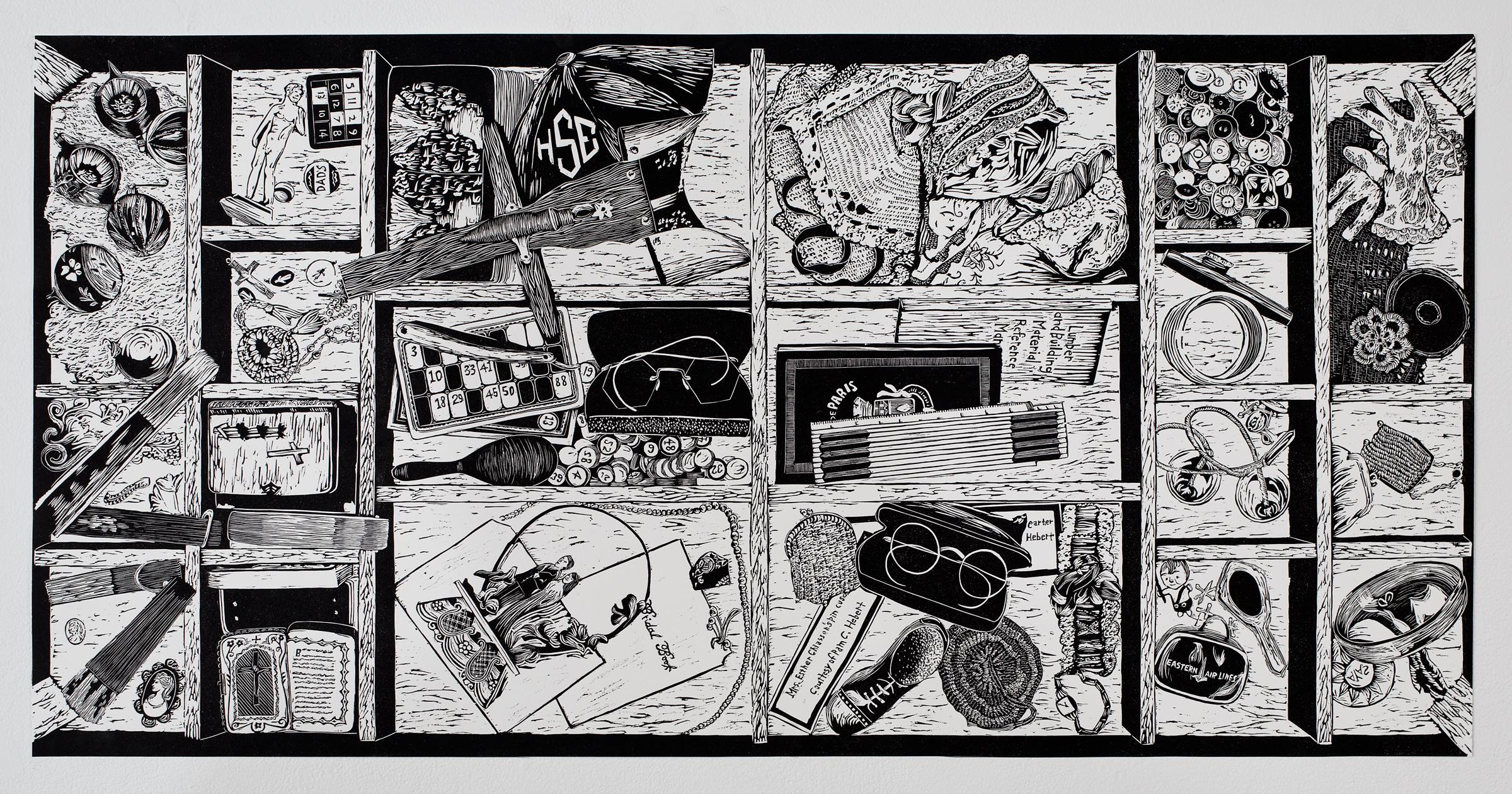 """""""Coffee Table Treasures"""", linoleum relief, 18x36."""