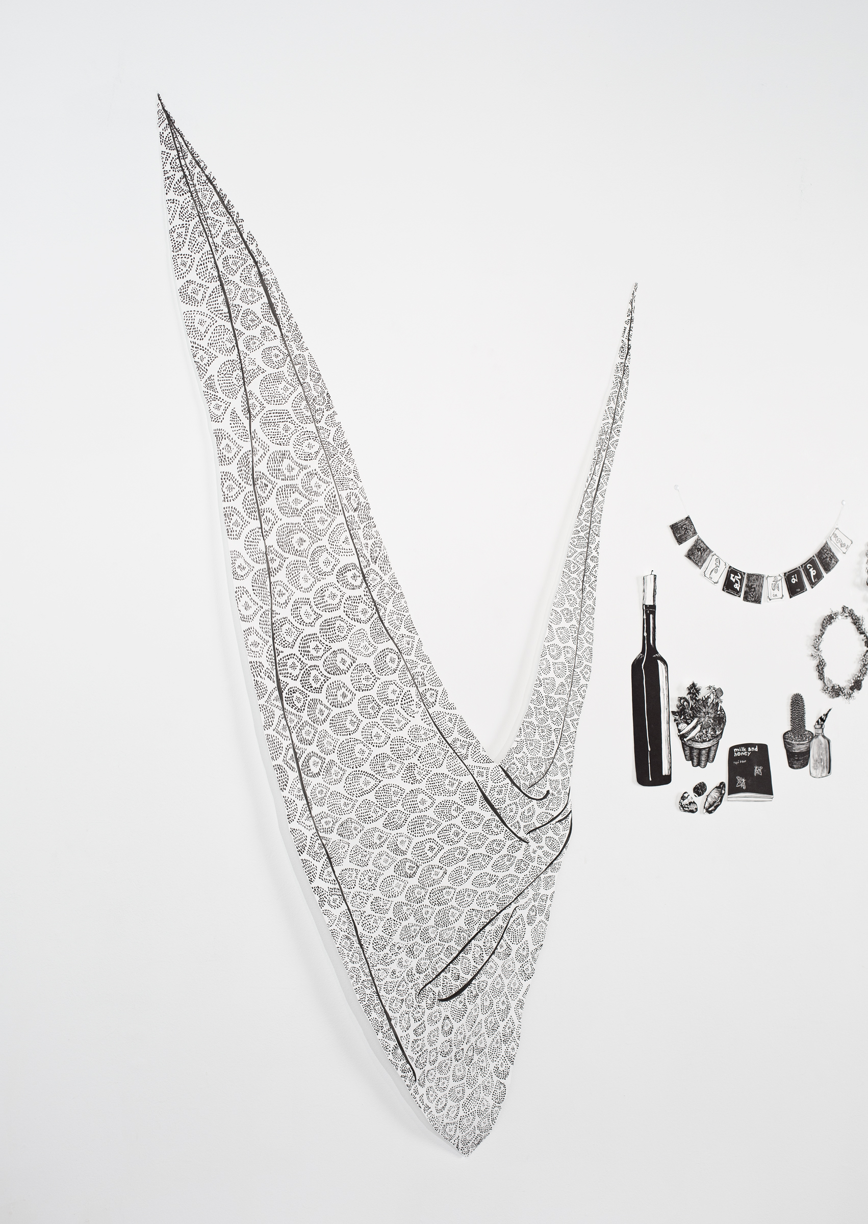 """""""Lace"""", pen drawing then cut out with Xacto, 32x71"""