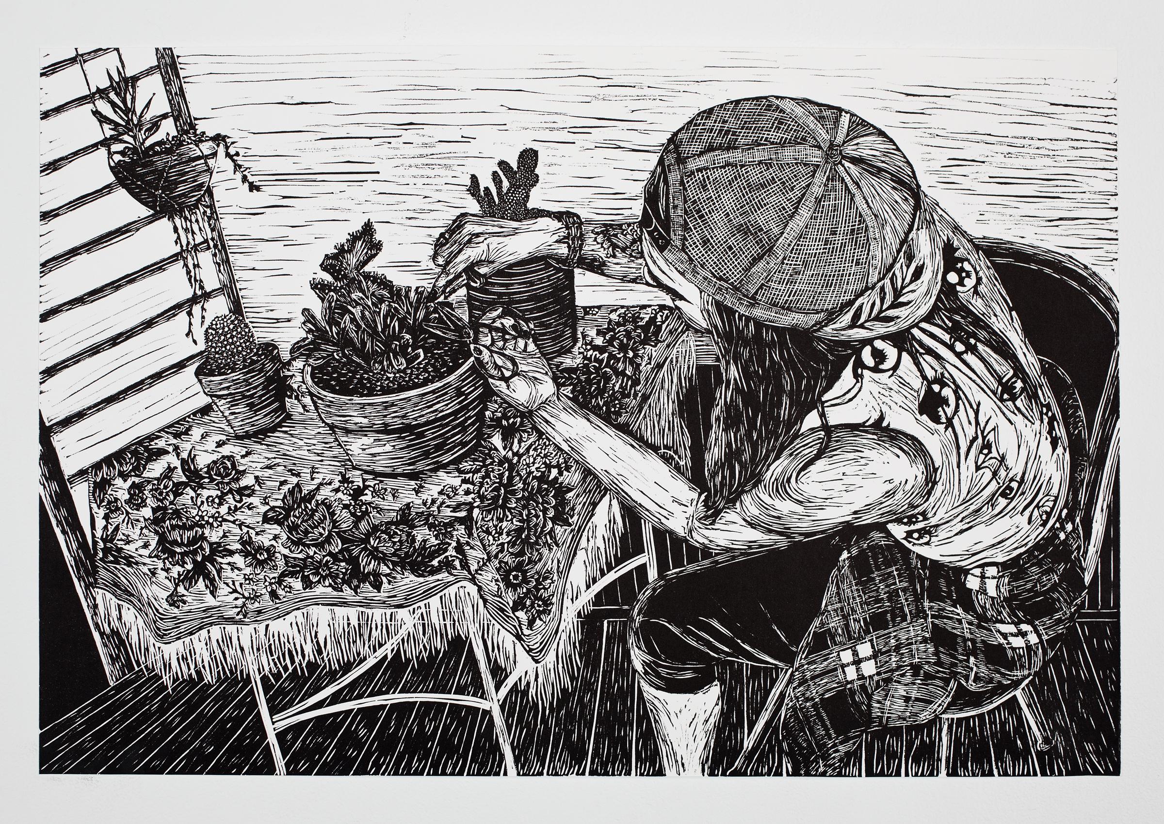 """""""Tending Her Plants"""", linoleum relief, 16 1/2x24"""