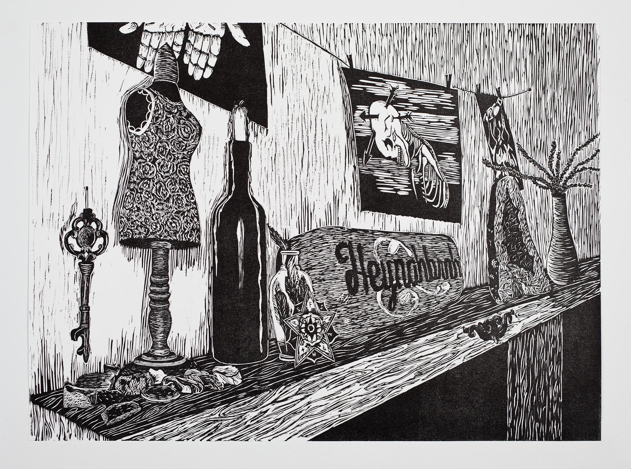 """Mantle"", linoleum relief, 18x24"
