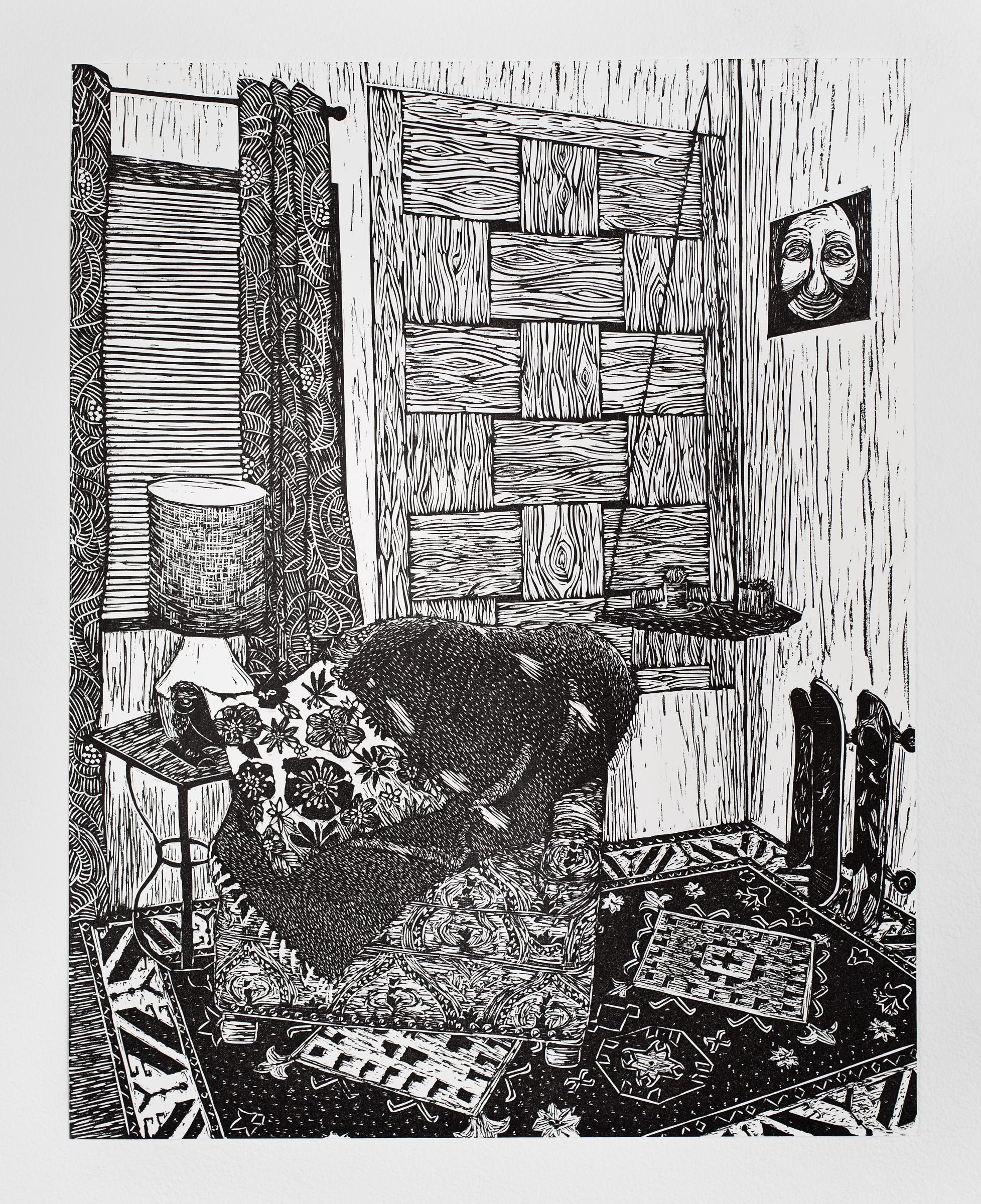 """""""Living Room Chair"""", linoleum relief, 14 1/2x18 1/2"""