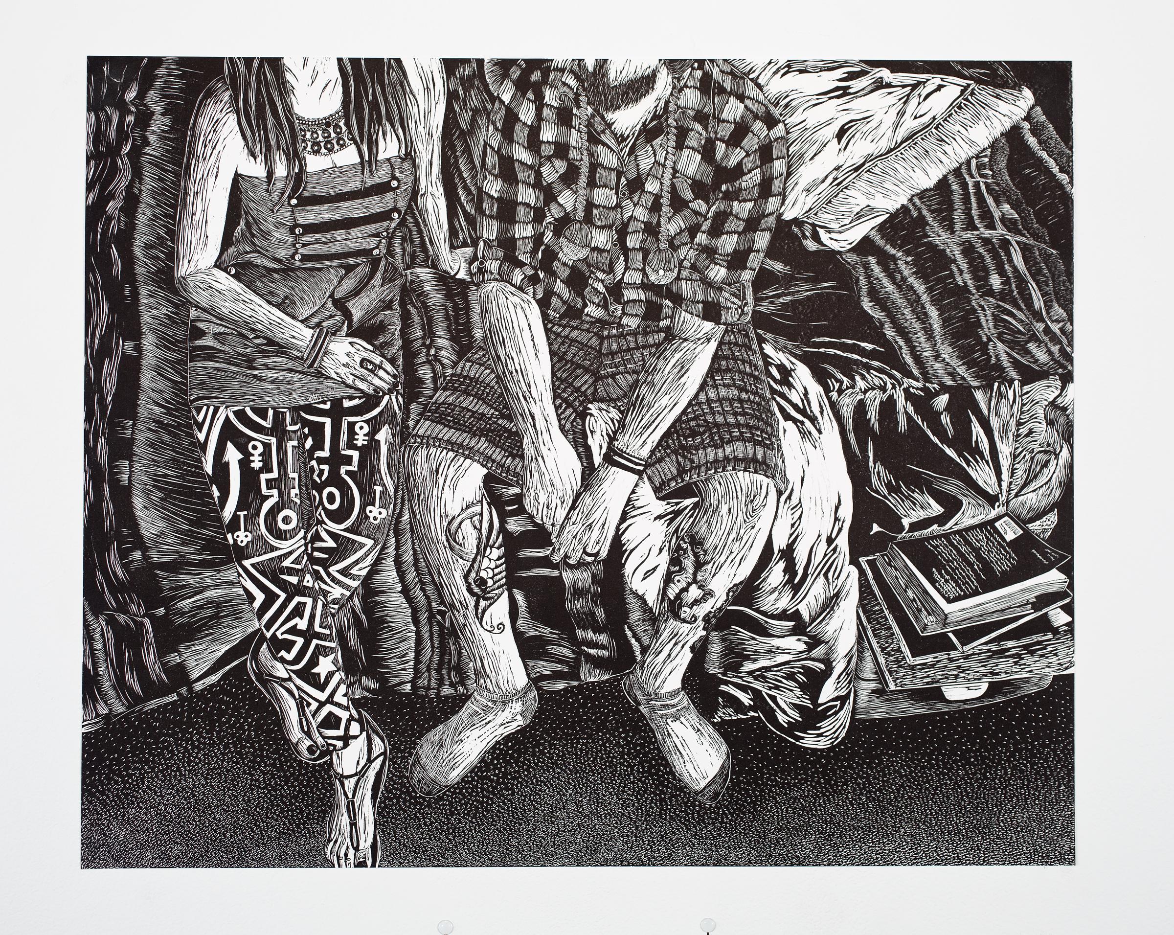 """Articulate Apparel"", linoleum relief, 20x24"